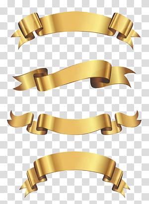 Spanduk Vinyl Iklan Stiker Pita, Set Spanduk Emas, empat pita emas png