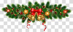 lonceng berwarna emas dan banyak dekorasi Natal, hiasan pohon Natal Garland Natal, Lonceng Emas Natal dan Hiasan Dekorasi png