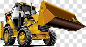ilustrasi front-end loader kuning, Tractor Bulldozer Backhoe loader Alat berat, bahan bulldozer PNG clipart