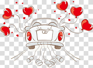kendaraan putih dengan ilustrasi balon jantung merah, Ilustrasi Pernikahan undangan Mobil, mobil Pernikahan png