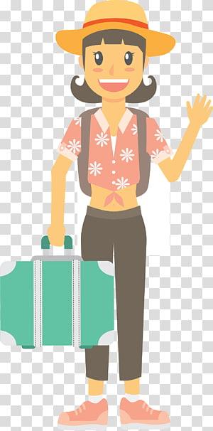 gambar wanita berambut hitam membawa tas hijau, Infografis Pariwisata, Turis di liburan tepi laut di musim panas PNG clipart