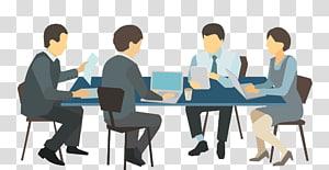 sekelompok orang di depan ilustrasi meja, Ilustrasi Meja Rapat, pertemuan orang bisnis png
