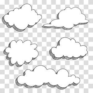 Kartun Menggambar Komik, Kartun awan, lima awan putih png
