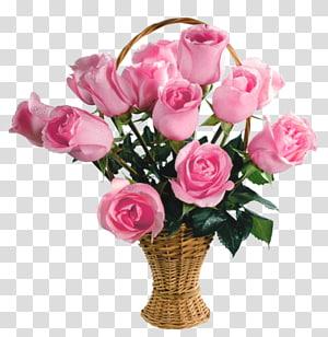 buket mawar merah muda di atas keranjang, Keranjang Bunga Mawar Merah Muda, Keranjang Mawar Merah Muda png