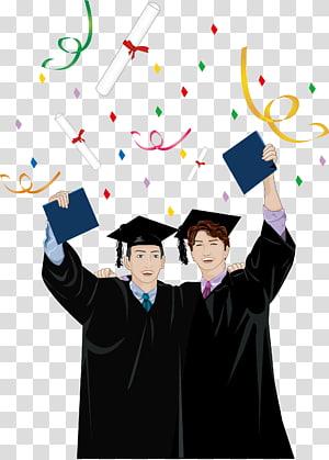 dua ilustrasi lulusan baru, Topi Akademik pakaian Gelar Wisuda, Musim kelulusan orang png