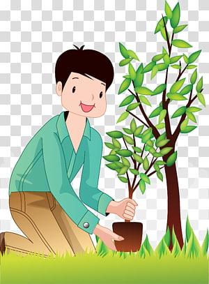ilustrasi penanaman kartun anak laki-laki menanam, Pohon, Menanam pohon Manusia png