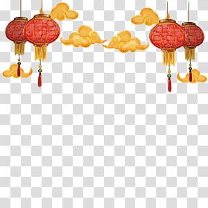 Tahun Baru Cina Lentera Kertas Natal, awan lentera Cina, lentera png