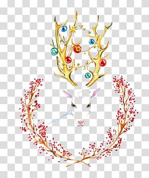berbagai macam rusa warna, Seni Cat Air Seni Visual Cat Air Kreatif: Bunga Lukisan cat air Ilustrasi, rusa cat air PNG clipart
