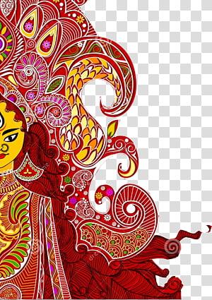 ilustrasi wanita, Durga Puja Dussehra Wish Bathukamma Navaratri, Durga Maa png