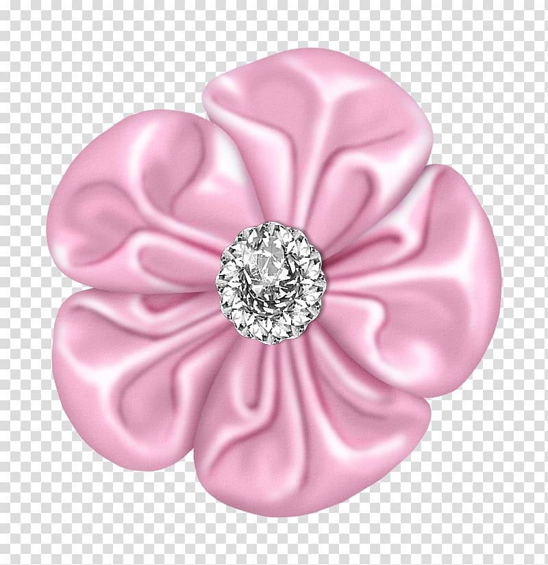 perhiasan batu permata yang jelas, Pink Flower, Light Pink Flower Bow dengan Diamond png