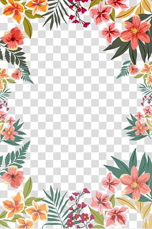 Bunga kertas, Bentuk perbatasan bunga musim panas, ilustrasi bunga berwarna merah muda dan oranye png