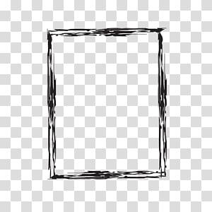 ilustrasi bingkai hitam persegi panjang, Kuas tinta Gores, Tinta menggores batas png