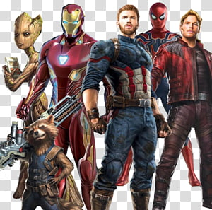 Ilustrasi karakter Avengers, Captain America Spider-Man Iron Man Clint Barton Star-Lord, Avengers png