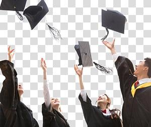 empat orang melemparkan topi akademik, upacara Wisuda topi akademik Student Square topi Doktor, kelulusan png