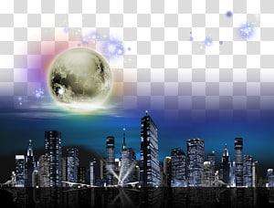Cityscape terang dengan bulan, Cahaya Malam langit, langit malam Kota PNG clipart