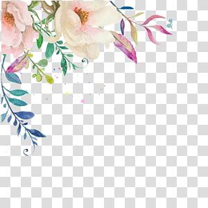 Cat Air Bunga Undangan Pernikahan Lukisan Cat Air, Bunga tangan-dicat tinta buket, ilustrasi bunga putih dan merah muda PNG clipart