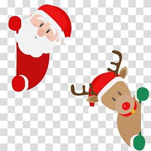 Ilustrasi Santa Claus dan Rusa Natal, Rusa Santa Claus Natal Rusa Santa Claus, Kartun Santa Rusa dan Rusa Natal png