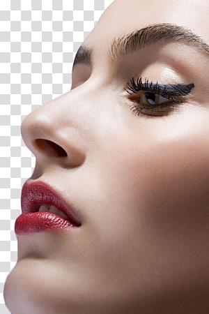 wanita mengenakan lipstik merah dan maskara hitam, ekstensi Bulu Mata Wajah, closeup Wajah PNG clipart