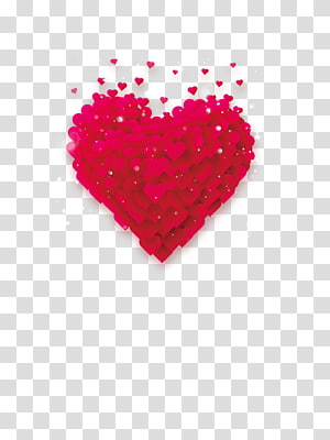 hati merah, Love Heart Romance Illustration, Stacked Heart png