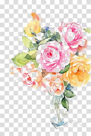 Lukisan Bunga Tinta Cat Air, Bunga tinta warna air, ilustrasi mawar merah muda, oranye, dan kuning png