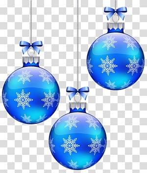 tiga perhiasan biru, ornamen Natal Snowflake Blue Sphere, Blue Christmas Balls Decoration png