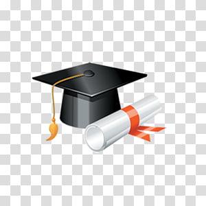 papan mortir hitam dan ilustrasi ijazah, Topi akademik Wisuda topi persegi, Topi Wisuda png