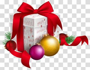 ilustrasi kotak hadiah bertema Natal putih dan merah, Hadiah Natal Santa Claus, Hadiah Natal dan Ornamen png