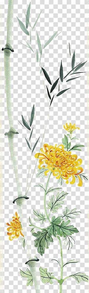 Bambu krisan Lukisan Cina Daun, Daun bambu dan krisan, sketsa bunga kuning kelopak png