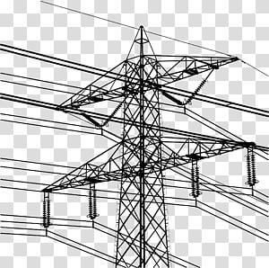 ilustrasi menara listrik utilitas hitam, Saluran listrik Overhead listrik Transmisi daya listrik Menara transmisi, Menara tegangan tinggi png