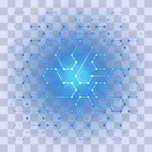Perancang Poster, Teknologi Digital Efek cahaya segi enam digital, ilustrasi biru dan putih png