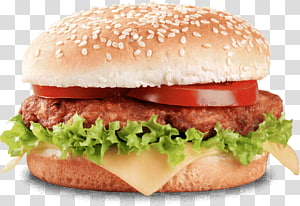 roti dengan burger patty, burger burger Hamburger Hamburger Burger kentang goreng, hamburger, burger burger Mac png