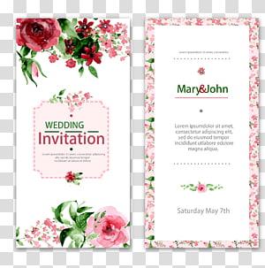 Undangan pernikahan Lukisan Cat Air Bunga, undangan pernikahan renda, surat undangan pernikahan Mary & John png
