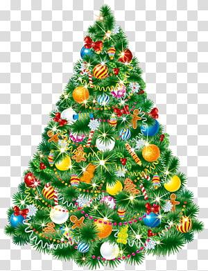Pohon Natal dengan ornamen, pohon Natal Hari Natal Hadiah dekorasi Natal, Pohon Natal PNG clipart