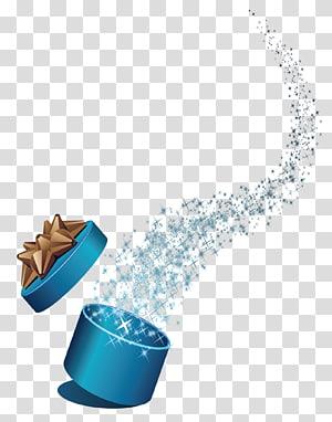 ilustrasi kotak hadiah biru, Hadiah Natal Tahun Baru, kotak hadiah terbuka png