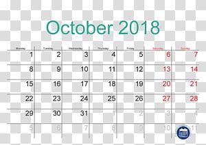 Kalender oktober 2018, kalender libur publik waktu oktober, kalender 2018 PNG clipart