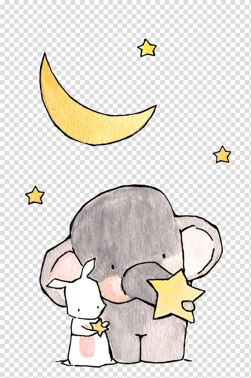 ilustrasi gajah dan kelinci di bawah bulan sabit, Ilustrasi Gajah Gambar Kartun, Gajah dan Kelinci Putih png