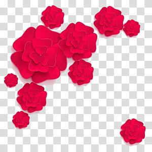 ilustrasi bunga merah, desain Bunga Kertas Bunga, Bunga png