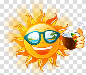 ilustrasi memegang minuman kelapa, Kesehatan Musim Panas, matahari, kacamata hitam PNG clipart