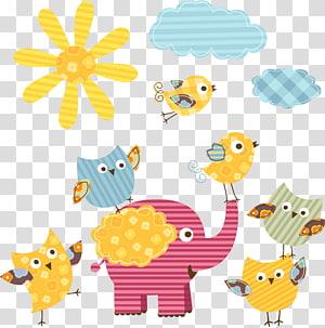ilustrasi aneka warna dan binatang, kartun matahari dan gajah png