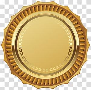 Akreditasi Industri Segel Emas, Segel Emas dengan Pita, ilustrasi emas bulat dan kuning PNG clipart