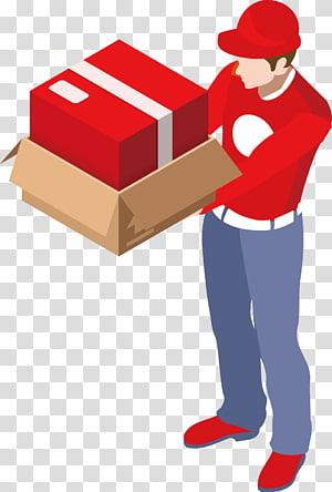 pria yang membawa ilustrasi kotak merah dan coklat, Pengiriman Transportasi barang Logistik Bisnis Kargo, staf pengiriman logistik desain kreatif Gbr. png