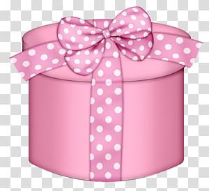 kotak hadiah polka dot merah muda dan putih, Kotak Hadiah Merah Muda, Kotak Hadiah Merah Muda Bulat png
