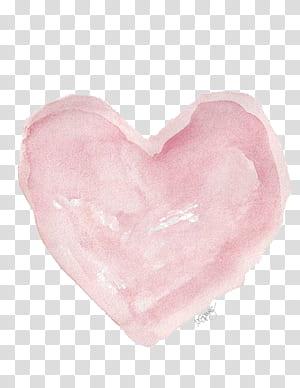 Lukisan Cat Air Ilustrasi Jantung, Cat Air Hati, karya seni jantung merah muda png