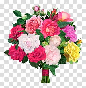 Buket bunga Rose, Rose Bouquet, bunga pink, kuning, dan ungu png