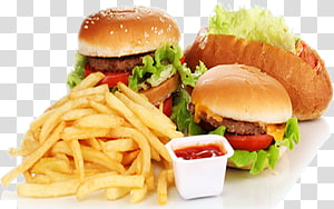 hamburger dan kentang goreng, Fast food Junk food Hamburger Kentang goreng Fried chicken, Fast Food Banner png