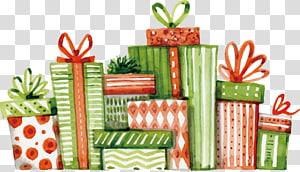 kotak hadiah hijau dan merah, hadiah Natal hadiah Natal lukisan Cat Air Natal, ilustrasi dicat hadiah cat air png