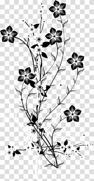 China Japan Flower Euclidean, Bunga latar belakang dekoratif hitam dan putih, ilustrasi bunga hitam, abu-abu, dan putih png