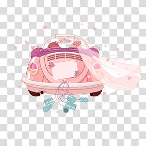 pink Volkswagen Beetle dengan ilustrasi kerudung pernikahan putih, Undangan pernikahan, Kartun mobil pernikahan romantis PNG clipart