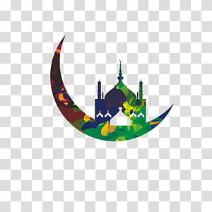 ilustrasi masjid hijau, Masjid Ramadhan Idul Fitri Islam, Bulan dan arsitektur PNG clipart