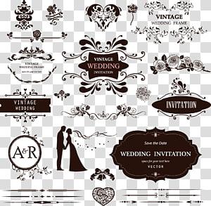 Pola dekoratif pernikahan, Ilustrasi bingkai pernikahan Vintage png